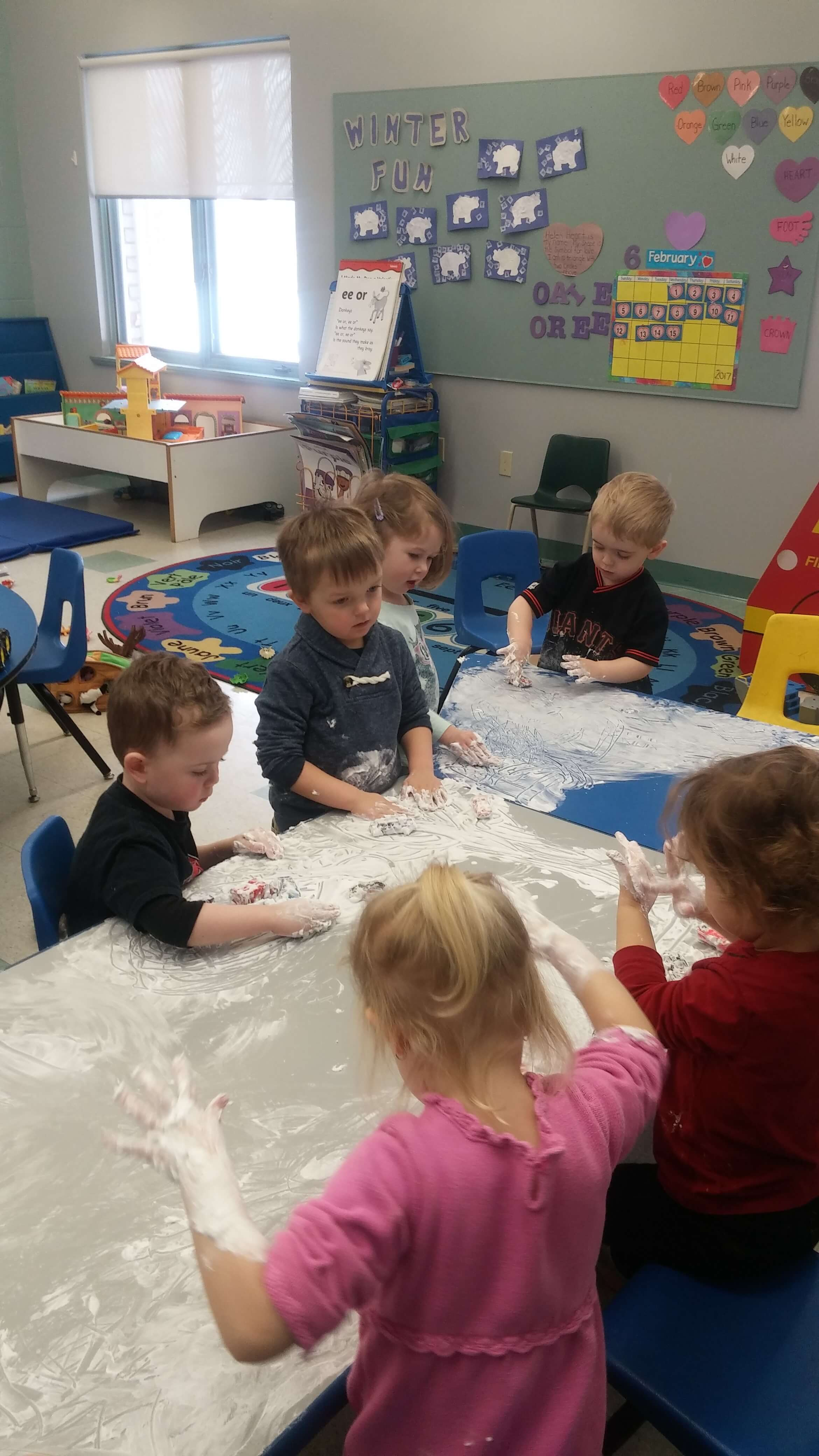 kids playing with shaving cream